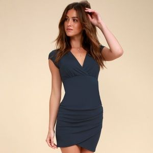 Lulus Hollywood Ending Navy Blue Bodycon Dress